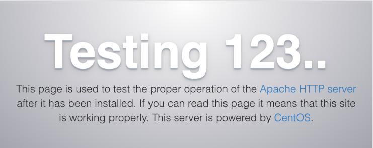 Default Apache page for CentOS 7